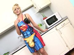 Zlata was in the kitchen cooking something when she suddenly felt like masturbating. Because she was