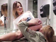 sensual lesbian session in the bathroom