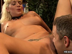 Let's see what fun these hot couple gets into. The mature blonde spreads her thighs so, he can stick