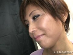 She's a normal lady but acts naughty at the sight of hard cocks. The mature Japanese woman it's a bi
