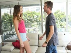 Elena's dad took her phone away, as well as that of her step-bro. They sat on the couch talking for