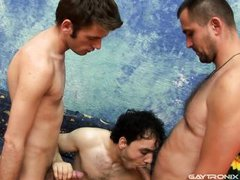 the guy in the middle is greedy for dick