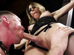 this blonde busty tranny likes various bdsm games