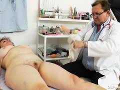 Marsa is an old slut that come to her doc for a full examination. The doctor measure her and then as