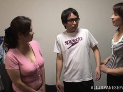 Japanese AV Model is a naughty tramp in mff threesome