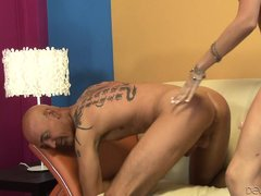 He gags on her massive dildo as she shoves it in and out of his mouth. The old man takes it hard up
