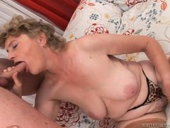 Granny craved for a hard dick and this time, she's getting lucky. Finally, the old saggy whore got w