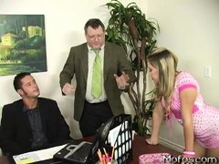 Teen Kelly Skyline is being shown around at her dad's company. She's distracting the manager from wo