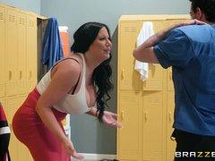 curvy milf seduces jake adams in the locker room