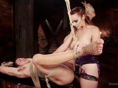 redhead mistress tortures tattooed guy