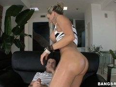 Mature blonde wants to ride a big cock in her hot oily pussy, lucky guy licks the butts and gets lai