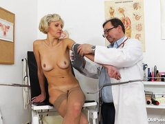 Sava is at the doctor getting checked out. The doctor checked her pressure, then he asks to spread h