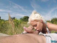 blonde fucks agent outdoors