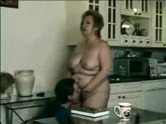 Amazing amateur Grannies, Kitchen adult scene