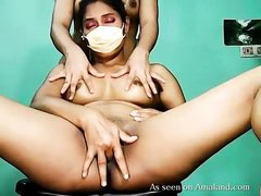 two busty masked lesbians webcam show