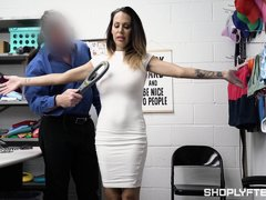 Strict Watchman Caught Insolent Shoplifter And Punished Her Mature Pussy