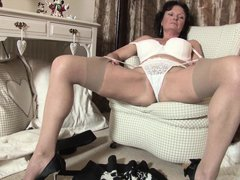 Jacqueline X is a sexy mature mom. Look at attractive body and nice round boobs. At first she is str