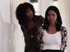 Jenna Foxx and Misty Stone are making love with each other and using a double ended dildo
