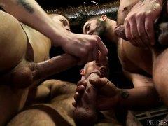 three hot men have hardcore sex