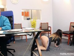 Bambi is helping her step dad with some business papers, but all she has in mind, is the vision of h