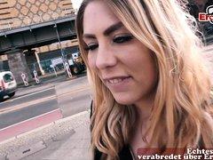 german big tits tattoo model seduced on street for blind date pick up