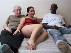 Mature Brunette sucking and fucking old cock