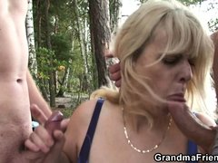 Milena and her two male friends are out in nature. They enjoy the landscape and the wilderness until