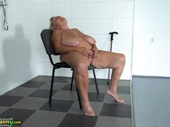 granny with huge saggy boobs masturbates in the bathroom