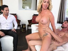 busty blonde cucks her husband