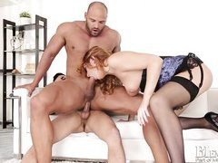 alluring ingrid in wild bisexual threesome