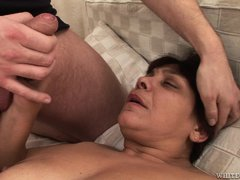 Dana is an old fart that just loves to bend over for much younger boys. She's being ass licked by th