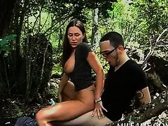 Wild MILF having hardcore sex in the woods
