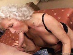 granny loves sucking fat guy's cock