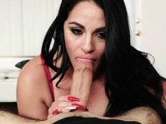 lady in red gives an amazing blowjob