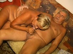 Enjoy watching this old couple having lustful couch sex. The old man delights himself with this gran