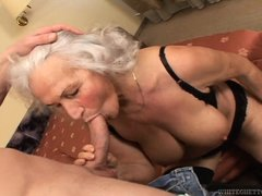 Slutty grandma Marinoka is mad for young cock. Than younger and harder, the better! She's fucking ha