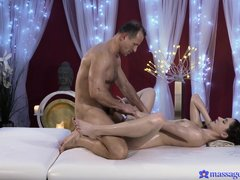 Aruna loves getting pampered at the spa. She gets a great, oily massage from a big, strong man. She