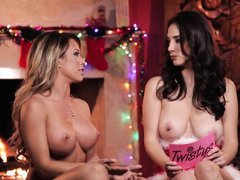 capri and jelena have fun on the christmas eve