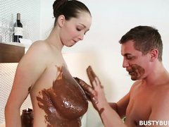 buffy gets her tits chocolated!