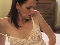 Jalina C is a sexy brunette wife. Here she is waiting for her husband to fuck her. By not getting hi