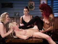 Three mature lesbian mistresses were really happy after getting a cooperative slave. They brutally s