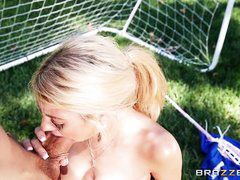 horny kayla sucking dick on the soccer field