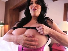 pinup girl antonella plays with her massive boobs
