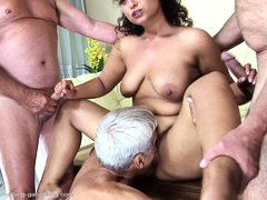 Gabrielle is a chubby milf with big tits who has a thing with old mens so she buries her tongue in t