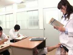 Japanese teacher was fingered hard by the headmaster, while teaching in classroom. The classroom is