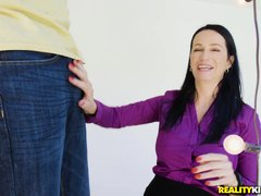naughty milf angie is wet while she sucks cock