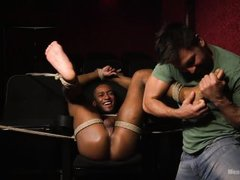 zaid power receives deep blowjob while tied up