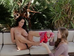 two stunning lesbians love to fuck outdoors
