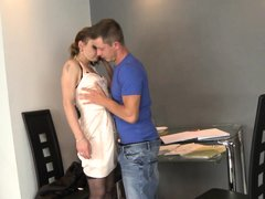 He taking private lessons from a mature woman that was his exteacher. Slut letting him to seduce her