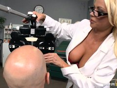 A very hot thirty five year old doctor gets horny and wants to fuck her patient and shows him a pict